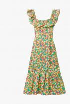 Rixo June Ruffled Printed Cotton Midi Dress 640лв