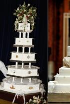 Традиционно... тортите винаги са с плодов вкус Забравете за шоколад, ванилия, лешници или подобни неща. Кралската сватбена торта е лека и плодова. На снимката в ляво - десертът от церемонията на принца Чарлс и Даяна през 1981, а в дясно - тортата на Уилям и Катрин от сватбата им през 2011 година.